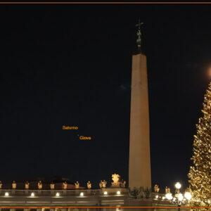 Giove Saturno e la Luna sopra San Pietro